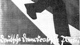 A poster on white paper with black print. It features a drawing of a large man wearing dark clothing and running down a road. On his shirt is the black eagle of the German crest