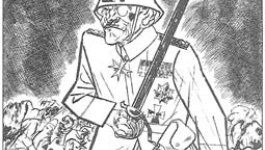 A drawing of an oversized man in a military uniform holding a sword and surrounded by corpses.