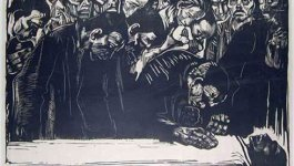 A dark painting depicting the memorial of Karl Liebknecht. Several people mourning over a body laying in the foreground.