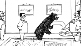 A bear speaks to a man standing behind a desk. film still from The Bear That Wasn't animation.