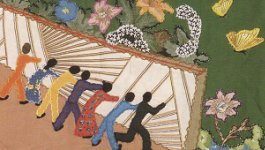 Quilted artwork of a group of people working together to achieve a goal.