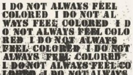 "Teaser image for lesson on the concept of race. Artist Glenn Ligon created Untitled: Four Etchings using quotations from writer Zora Neale Hurston's essay, ""How It Feels to Be Colored Me"" and Ralph Ellison's novel Invisible Man."