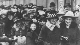 Crowd of people on the street in the Weimar Republic.