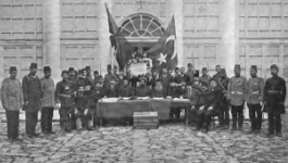 A group of men gather to pose at the Young Turk Revolution Declaration.