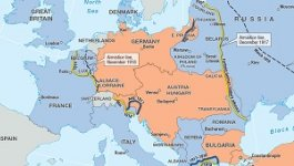 A map of countries and territories in Europe and the Middle East during World War I.