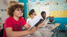 students reading at desks in classroom