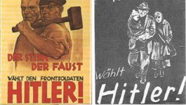 Two posters side by side. One is on yellow paper with red text. It features an illustration of two muscular men, one holding a sledgehammer and resting it against his shoulder. The other one is on dark paper with white text. It shows an illustration of a poverty-stricken family.