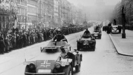 Photo of Nazi troops invading Prague during Germany's armed forces parade in 1939.