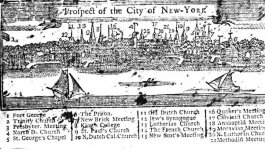 A map of New York City's 18th century skyline, naming each spire and what building it belongs to.