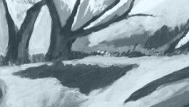 Gray abstract painting with trees and a landscape.