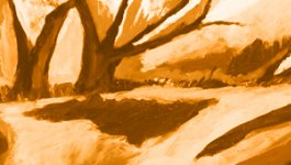 Orange abstract painting with trees and a landscape.
