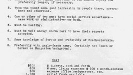 A typewritten list of requirements that a couple must meet to be sent to a Unitarian aid mission in Czechoslovakia.