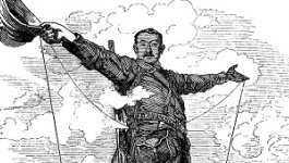 "Caricature titled ""Rhodes Colossus,"" depicting British imperialist Cecil Rhodes straddling the continent of Africa after announcing plans for a telegraph line from Cape Town to Cairo."