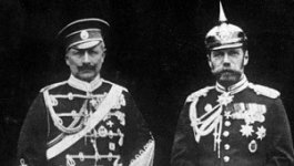 Kaiser Wilhelm II of Germany and Tsar Nicholas II of Russia in 1905, both wearing military uniforms associated with their empires.