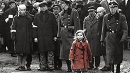 black and white image of soldiers with little girl in the foreground wearing a red jacket
