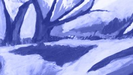 Abstract blue painting. Teaser image for a unit on Teaching about the Holocaust and Human Behavior for middle and high school students.