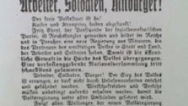 A newspaper front page in German. Dated Saturday November 9 1918.