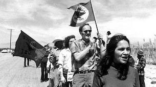 Dolores Huerta leading supporters of the United Farm Workers.