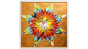 Image of an eight point star made with many colors.