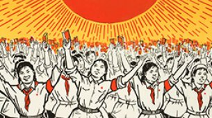 illustration of young girls in red scarfs and red arm bands