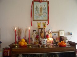 Photograph of a family altar found at a Malaysian Chinese home.