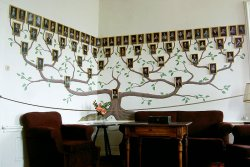 A family tree mural with portraits of six generations of the Sternberg family.