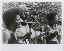 The Staple Singers perform at the Wattstax music festival.