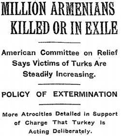 """New York Times headline from December 15, 1915 reading """"Million Armenians Killed or in Exile""""."""