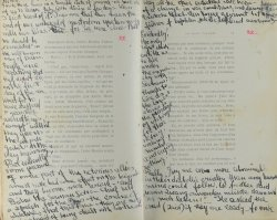 Photograph of handwritten diary pages by anonymous writer in the Lodz ghetto.