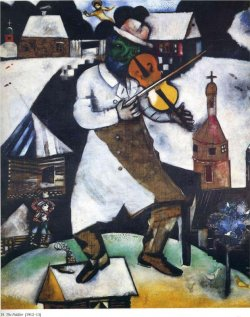 A painting of a fiddler with houses and a church in the background.