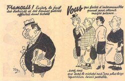 French propaganda pamphlet illustrating four women looking at an antisemitic caricature of a Jewish man.
