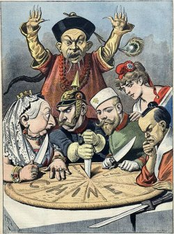 In this French political cartoon from 1898, the Qing official observes powerlessly as a pastry representing China is divided up by Queen Victoria of the United Kingdom, William II of Russia, the French Marianne, and a samurai of Japan.