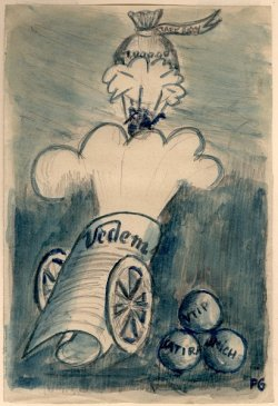 Pencil sketch on paper with watercolor. Titled Vedem by Petr Ginz. Vedem was a magazine published from inside Terezin concentration camp.