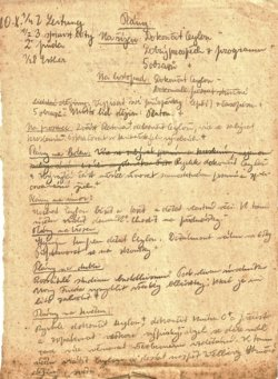 Handwritten page from the diary of Peter Ginz.