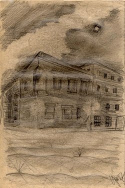 Pencil sketch on paper titled Prague at Night by Petr Ginz. Dated 1943.