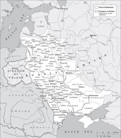 A map showing the Russian Empire, highlighting the Pale of Settlement.