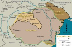 Map of Romania comparing the 1933 and 1942 boundaries.