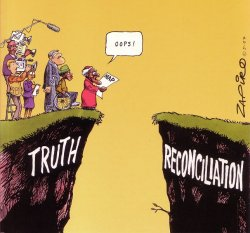 "Cartoon showing Arhcbishop Desmon Tutu standing at edge of cliff labeled ""Truth""."