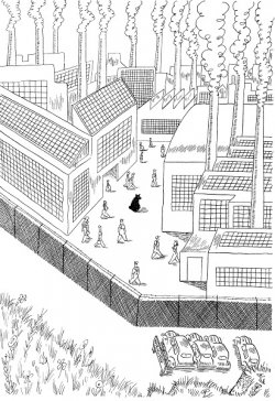 A bear walks between buildings and factories which are surrounded by a large wall.