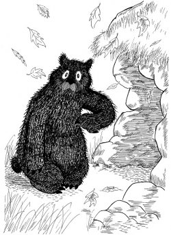 Bear outside the cave during autumn.