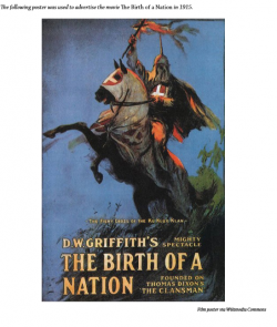 Theatrical poster for film The Birth of a Nation. Features an illustration of a man in a clansman uniform riding a horse and holding a flaming cross.