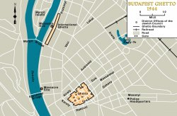 A map indicating the locations in Budapest of the two ghettos that existed there.