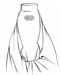 An illustration showing the use of a burqa. A woman wears a veil that is full-body length, covering her head as well as her body. Her face is entirely covered, with mesh in front of her eyes so she can see.