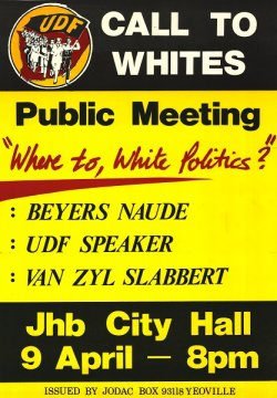 Poster with information about a public meeting at Johannesburg City Hall.
