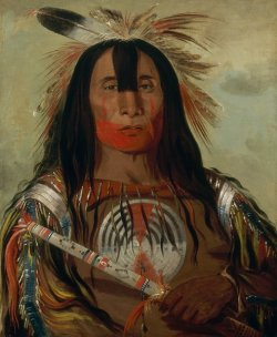 Painted portrait of a First Nation man in traditional attire.