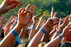 A group of arms raised in unison, all with blue bands around wrists.