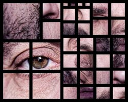Fragmented images of a human face.