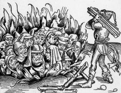 Woodcut of a group of men in a pit being set on fire.