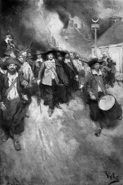 Painting of people in colonial dress march as Jamestown burns in the background.