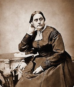Seated portrait of women's voting rights advocate Susan B. Anthony.